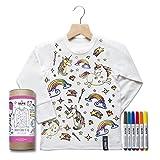 Selfie Clothing Co. Chemise à Coloriage Blanc - Ensemble-Cadeau Complet Avec Marqueurs pour Tissus - Modèle: Licorne (Taille 4-6 Ans)