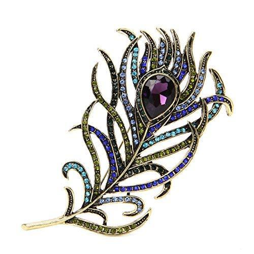 aloiness Feder Broschen Arbeiten Sie Kristall Frauen Brosche Vintage für Kleid Kleidung Dekorative Pin Bekleidungs Party Schmuck 11cm*6cm