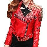 Knoxville Mall - Chaqueta de Piel para Mujer, diseño Punk Brando con Tachuelas Rojo Rosso XS