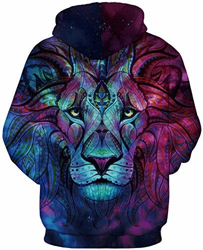TDOLAH Herren 3D Druck Kapuzenpullover Cartoon Sweatshirt Weihnachten Langarm Top Shirt Herbst Spaß Hoodie Löwe