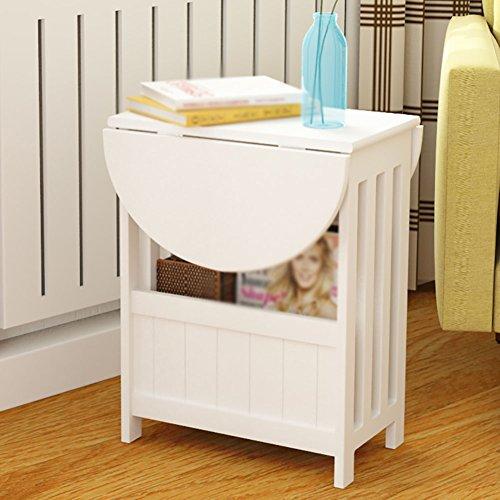 Preisvergleich Produktbild Klapptisch HYDT MDF 360 ° Rotation Weiß Drop-Blatt Tisch Sofa Gefaltet Kleine Kaffee Schreibtisch Einfache Runde Schreibtisch Sitzecke Seitenschrank Schlafzimmer Nachttisch 40 * 24 * 50 cm