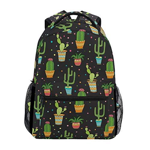 Ahomy Schulrucksack Buchtasche für Teenager Mädchen Jungen, Tropische Kaktusblüten mit Punkten, Reiserucksack für Damen und Herren