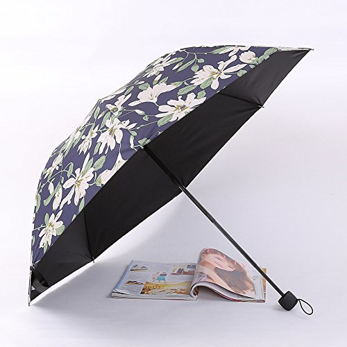 Wjcgx vintage 8 bone tri-fold sunshade beautiful lily stampa sunscreen parasole ms. outdoor uv sunshade ombrello