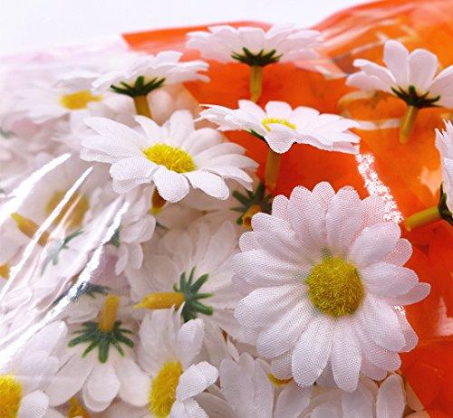 comprare on line JZK 100 Margherita gerbera bianca finta fiorellini finti bomboniere coriandoli decorazione tavola matrimonio cerimonia Natale fiore artificiale corolla fiore stoffa prezzo