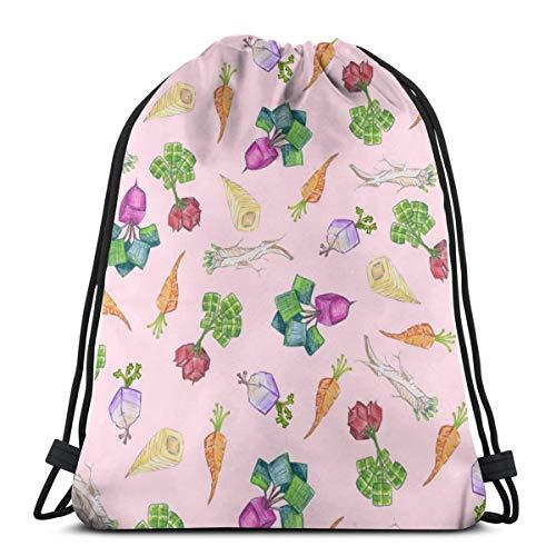 vintage cap Baby Square Roots On Light Pink_43290 3D Print Drawstring Backpack Rucksack Shoulder Bags Gym Bag for Adult 16.9