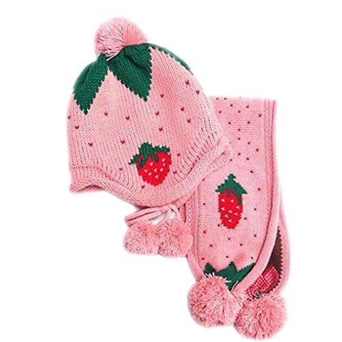 Hunpta Baby Mütze Schal jungen Mädchen Kleinkinder Erdbeer Schal Kind Schal Mützen Caps (Rosa) -