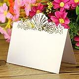 Besthc Pack de 50Tarjeta de boda lugar tarjeta de número de mesa nombre lugar de concha marina diseño de playa