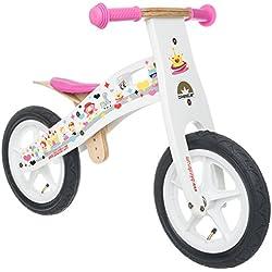 BIKESTAR® Premium 30.5cm (12 pulgadas) Bicicleta sin pedales para las princesas mas pequeñas a partir de los 3 años ★ Edición de madera natural ★ Blanco ★ Diseño para princesas