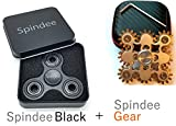 Spindee Black + Gear Spinner Combo Gift Set - Prime Anti-Anxiety Stress Relief Physics Toys with Fast & Durable Ceramic Bearing For Long Spins, Learn Hand Spinning Tricks! Focus Attention in Adults and Children with Autism, ADHD, SEN, Tourette's (Gear + Black)