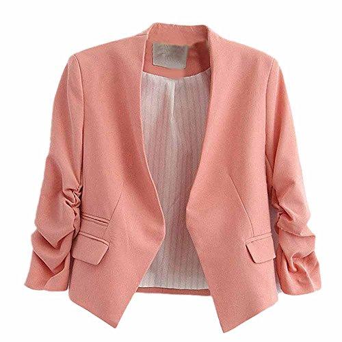VECDY Damen Jacken,Räumungsverkauf- FrauBusiness Mantel Blazer Anzug Langarmshirts Slim Jacket Outwear Größe S-6XL Lässige warme Jacke (XL, Rosa) - Business-casual-jacke