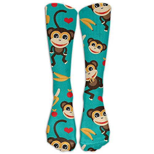woiebntb3b3 Men Novelty Monkey Love Banana Classicover The Calf Sock Athletic Crew Football Soccer Stocking Long Socks Unisex 19.68 inch