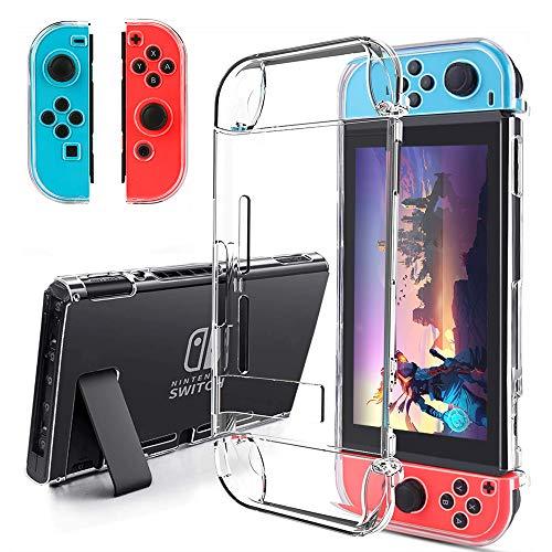 BestFire Dockable Case für Nintendo Switch Joycon Cover Schutzhüllen Hard PC Schutz Zubehör Hülle für Nintendo Switch und Joy-Con Controller Crystal Clear - Controller Crystal Case