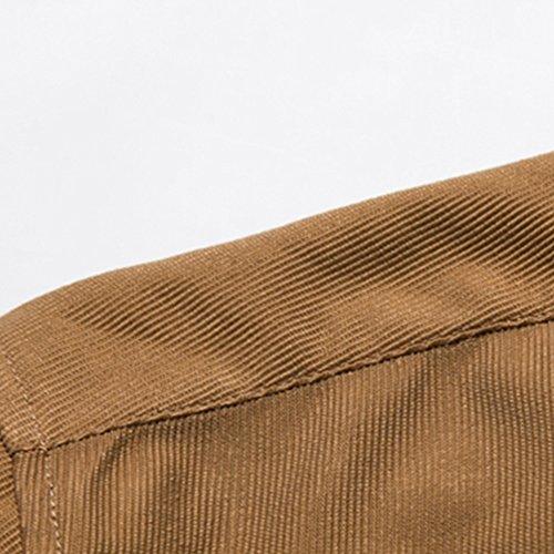 PIZZ ANNU Herren Einfach Einfarbig Cord Langarm-Shirt Marine