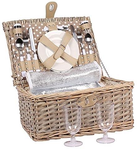 2personnes Panier Panier de pique-nique Pique-nique Valises avec couverture, Couverts, Verres à vin, assiettes