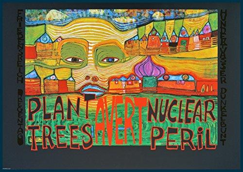Bild mit Rahmen Friedensreich Hundertwasser - SAFE ENERGY poster - PLANT TREES AVERT NUCLEAR PERIL (mit Folienprägung) - Holz blau, 84.0 x 59.4cm - Premiumqualität - , Klassische Moderne, Abstrakt, Plakat, Naturschutz, Ökologie, Atomkraft, Energiepolitik, .. - MADE IN GERMANY - ART-GALERIE-SHOPde