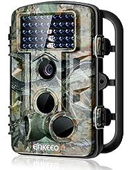 """Enkeeo - Caméra de chasse 1080P HD, Trail Caméra Résolution 12MP, capteur de mouvement infrarouge, 42pcs IR Leds, vision nocturne, 11 langues disponibles, Time Lapse, écran LCD 2,4"""""""