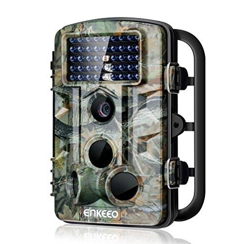 """Enkeeo - Cámara de Caza 1080P HD, Trail Cámara de 12MP Resolución, Infrarrojo Sensor de Movimiento, 42pcs IR Leds, Visión Nocturna, 11 idiomas disponibles, Lapso de Tiempo, 2.4"""" Pantalla LCD"""
