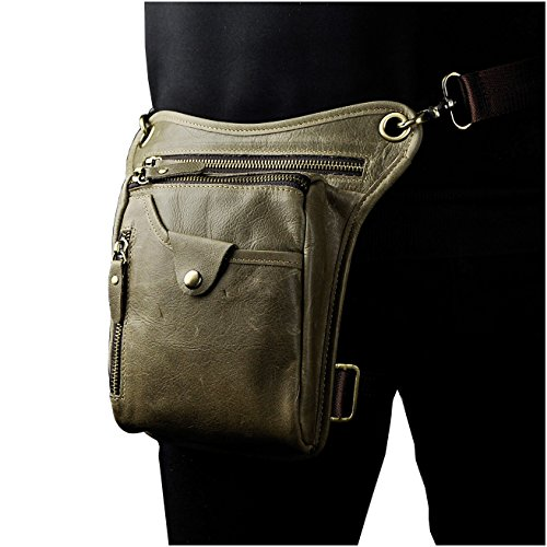 Le'aokuu Herren Leder Hüfttasche Gürteltasche Reiten Kleine Bein Tasche Schulter Beutel 211-5 grau 1