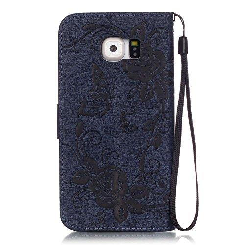 C-Super Mall-UK Apple iPhone 6 Plus / 6s Plus 5.5 Inch hülle: Qualität Exquisite Geprägtes Blumen & Schmetterling-Muster PU-Leder-Mappen-Standplatz -Schlag-hülle für Apple iPhone 6 Plus / 6s Plus 5.5  Navy blue