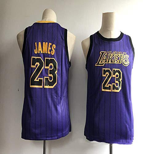 Unbekannt LT NBA Trikot Herren Lakers 23, James, Bauer, Kobe, City Edition, Besticktes Basketballtrikot Sommer atmungsaktives Sweatshirt Shirt (lila) Purple 23-XL -