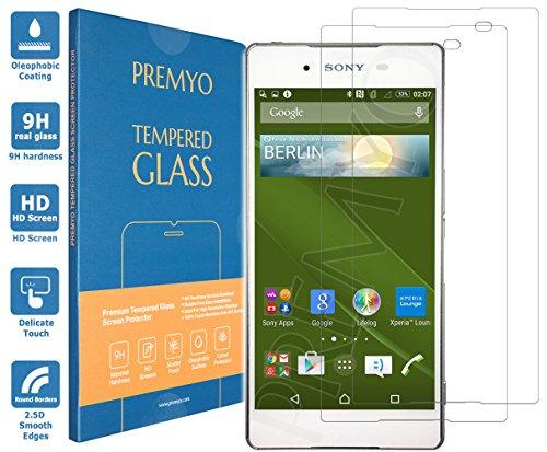 PREMYO 2 Stück Panzerglas Schutzglas Bildschirmschutzfolie Folie kompatibel für Sony Xperia Z3+ Plus Blasenfrei HD-Klar 9H Gegen Kratzer Fingerabdrücke