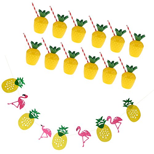 pical Ananas Flamingo Bunting & 12xLuau Cup Stroh Party ()