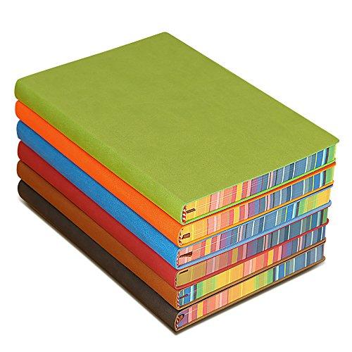 Zhi Jin A5Dick Colorful Seite Leder Notizbuch Tagebuch, gebundenen Notizblock Tagebuch Portfolio für Reisen Schule Büro blau (Reise-portfolio)