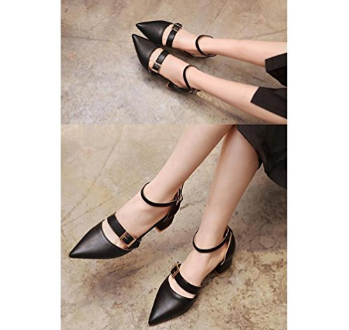Beauqueen Anke Straps Pompes Pointed-Toe Rivet Décoration Chunky Low Heel Work Shoes EU Taille 33-43 Black