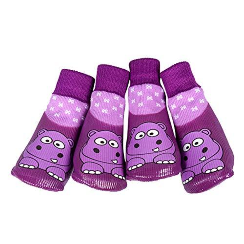B Blesiya Nilpferd Muster Hundesocken Pfotenschutz Wasserdichte Warme Baumwolle Socken, 4er-Packung - Größe (Nilpferd Kostüm Für Hunde)