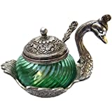 Soni Handicraft Metal Decorative Duck Shape Sugar Pot With Spoon, 250 Ml, Green (Pack Of 2)