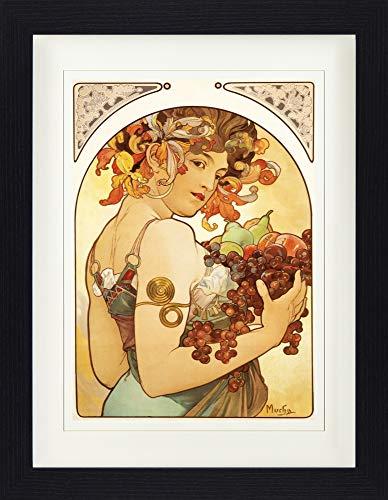 1art1 113991 Alphonse Mucha - Früchte, 1897 Gerahmtes Poster Für Fans Und Sammler 40 x 30 cm -