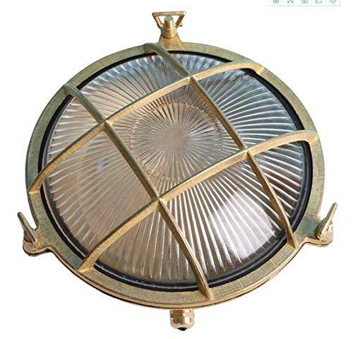 Discus Brass Bulkhead Round Im Freien Wasserdichte Licht Nautische Marine Wandleuchte Industrielicht Poliert Messing