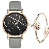 XLORDX Classic Damen Armbanduhr Trenduhr Marmor Marble Rosegold Schwarz Grau Lederarmband Quarz Analog Uhren mit Rosegold Armband