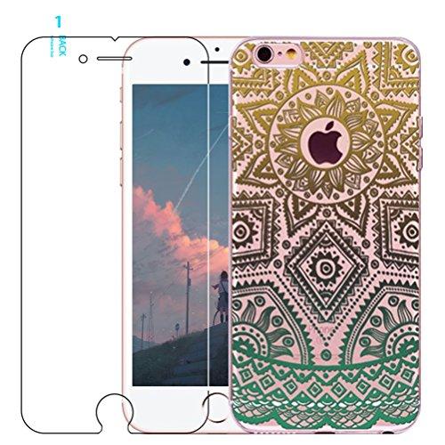 iPhone 6Coque, iPhone 6s Coque avec protection d'écran en verre trempé, Blossom01Ultra mince Soft Gel coloré Mandala Motif fleur TPU Coque de protection en silicone avec motif de henné pour iPhone 6 #09