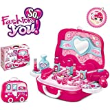 Toy4Pick Branded Children Beauty Makeup Kit Pretend Play Cosmetic Set Toy Kids Role Games Tools Accessories Portable Suitcase (17in1)