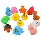 Peradix Bañera Juguetes con 13 Piezas Coloridos Animales Flotantes de Goma Suave Hacer Sonido para Natación Bebé Niños