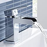 iBathUK | Modern Waterfall Chrome Basin Mixer Tap Monobloc Bathroom Sink Faucet TB3107