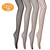 Netzstrumpfhosen, Gvoo 4 Stück 4 Stile Sexy Fischernetz Strumpfhosen für Damen Kostüm Fasching - Schwarz