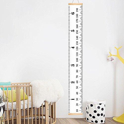 Messlatte Kind Wandtattoo, Tragbare Meßlatte Holz für Kinder Körpergröße Wand Höhe Diagramm Leinwand Hängende Wachstumsmesser Messleiste in Weiß zum Erwachsenenalter, 20x200 cm Kinderzimmer Dekor (Dekor Piraten-kinderzimmer)