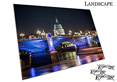 St Paul's Cathedral London bridge Illuminations river Thames - Roll Up Banner Textured Size A2