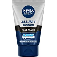 NIVEA Men Face Wash, All in 1 Charcoal, to Detoxify & Refresh Skin with 10x Vitamin C Effect, for All Skin Types, 50 g