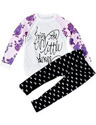 Vovotrade Chica de manga larga camiseta de la impresión de las tapas + pantalones