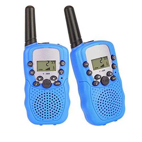 2 X Funkgerät Walkie Talkie Handfunkgerät von Outry, 3KM Reichweite 8 Kanäle VOX Taschenlampe lange Standby Scan Funktion Batteriestatusanzeige Gürtelclip mit LCD Display Stabil und Praktische Walki Talki für Kinder Blau Cb-funk-codes