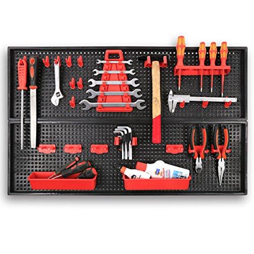 XXL Werkzeugwand Lochwand mit 24tlg. Werkzeugbefestigungsset, Länge 80 cm x Breite 50 cm - beliebig erweiterbar