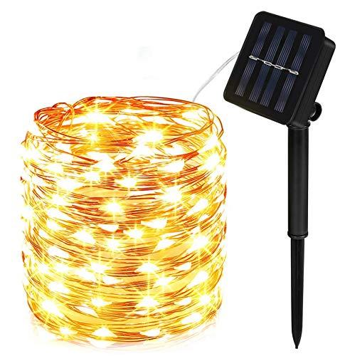 100 LED Solar Lichterkette 10M / 33ft wiederaufladbare von GoKlug, 8 Modi Außenbeleuchtung Batteriebetrieben IP65 Wasserdichte Lichterkette, Lichterkette außen für Party, Weihnachten, Fest Deko