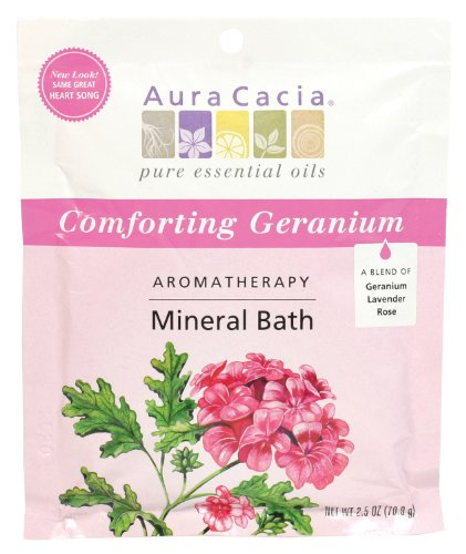 Aura Cacia Aromatherapy Mineral Bath, Comforting Geranium, 2.5 ounce packet (Pack of 3) by Aura Cacia