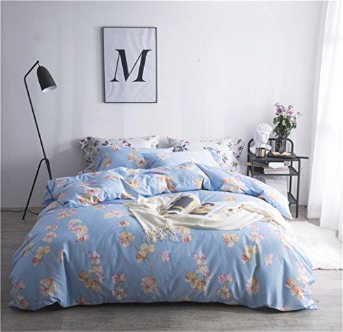 Bettwäsche Bettlaken Bettbezug Bettdecke Set 4 Stücke 100% Ägyptische Baumwollgewebe Zeitgenössische Blume Mikrofaser Reversibel Hypoallergen, Voller Königin Bett Größe,A,Full -