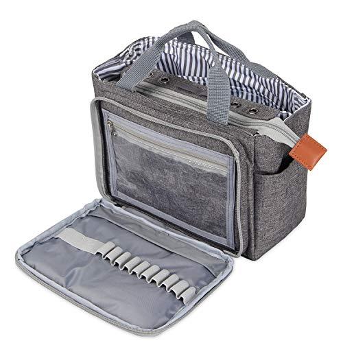 Luxja häkeln Einkaufstasche, tragbare Garn Aufbewahrungstasche für kleine unvollendete Projekte, Häkelnadeln und anderes Zubehör (kein Zubehör enthalten), (grau)