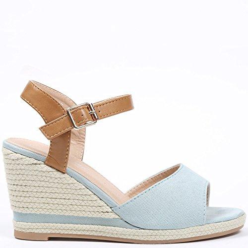 Ideal Shoes–Sandali compensate a Bout aperto e effetto camoscio anathalie Azzurro