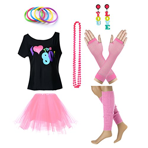 Fun Daisy Clothing Damen I Love The 80er Jahre T-Shirt 80er Jahre Outfit Zubehör, Rosa - UK 12-14 / S-M